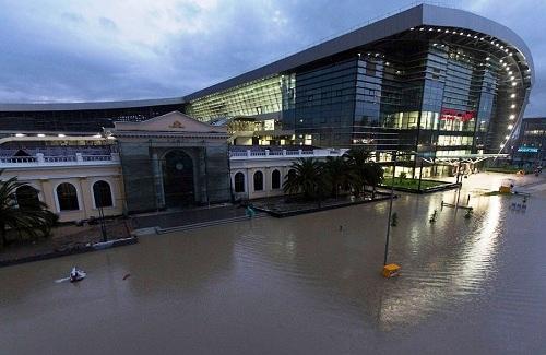 Наводнение в Сочи. ЖД вокзал Адлер
