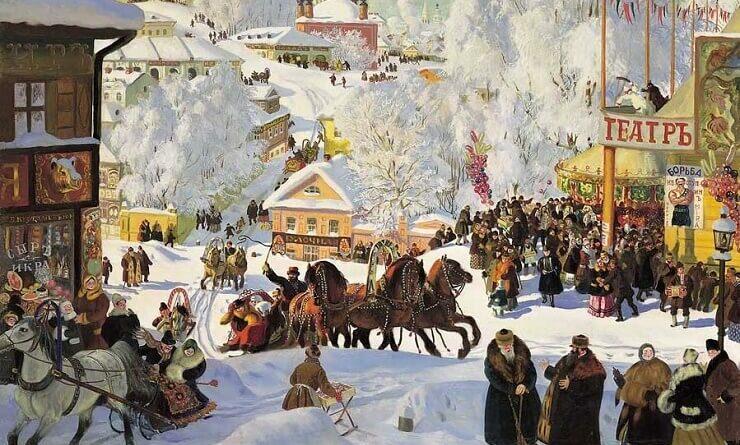 Картина Б. Кустодиева из серии Масленица
