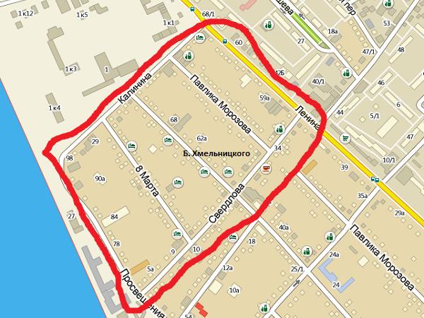 Отдых в Адлере. Карта. Улицы 8-го Марта, Калинина, Свердлова