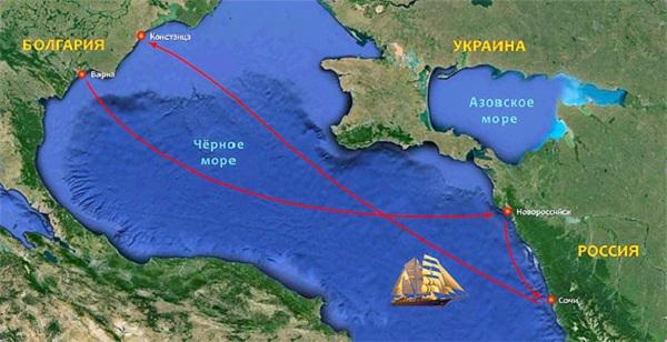 СКФ Черноморская регата больших парусников-2014.  Маршрут