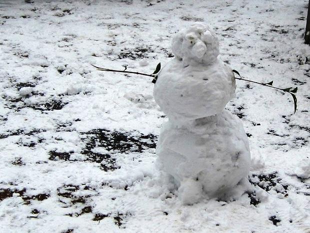 Снег в Сочи. Снеговик