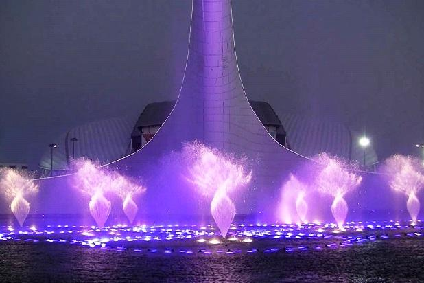 Зимний режим работы Олимпийских фонтанов. Стробо звезды
